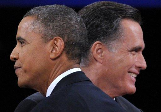 This file photo shows US President Barack Obama (L) greeting Republican presidential candidate Mitt Romney following the third and final presidential debate at Lynn University in Boca Raton, Florida, October 22