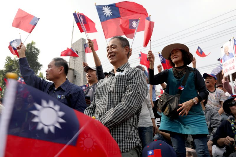 Supporters of Kuomintang party's presidential candidate Han Kuo-yu attend his election rally in Tainan