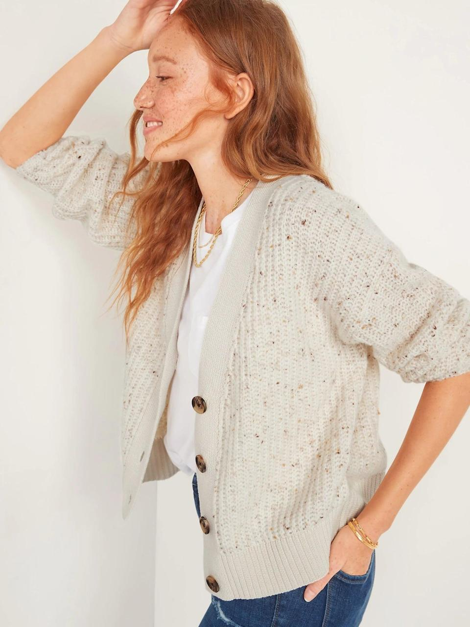 <p>Don't even worry about the temperature when this <span>Old Navy Slouchy Shaker-Stitch Speckled Cardigan Sweater</span> ($45) is around. After all, it can be dressed up over pants in a chilly office or worn with jeans for brunch alfresco.</p>