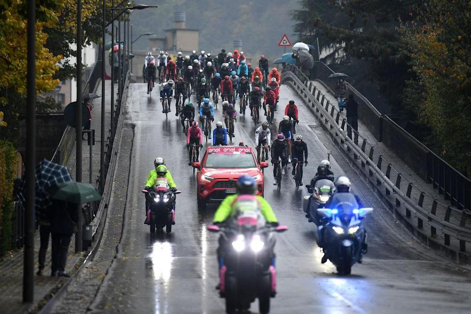The Giro d'Italia rolled out of Morbegno but soon stopped after a rider protest