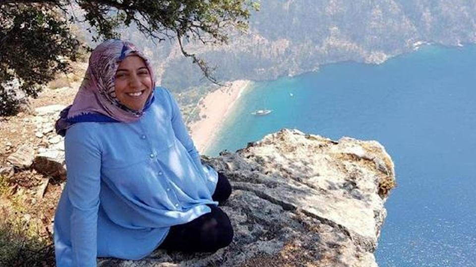 Semra Aysal poses on a cliff top in a photo.