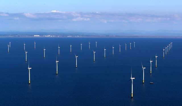 Aerial view of the Walney Extension wind farm