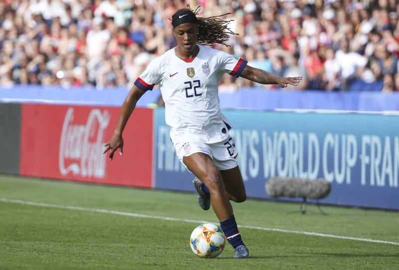 PARIS, FRANCE - JUNE 16: Jessica McDonald of USA during the 2019 FIFA Women's World Cup France group F match between USA and Chile at Parc des Princes stadium on June 16, 2019 in Paris, France. (Photo by Jean Catuffe/Getty Images)
