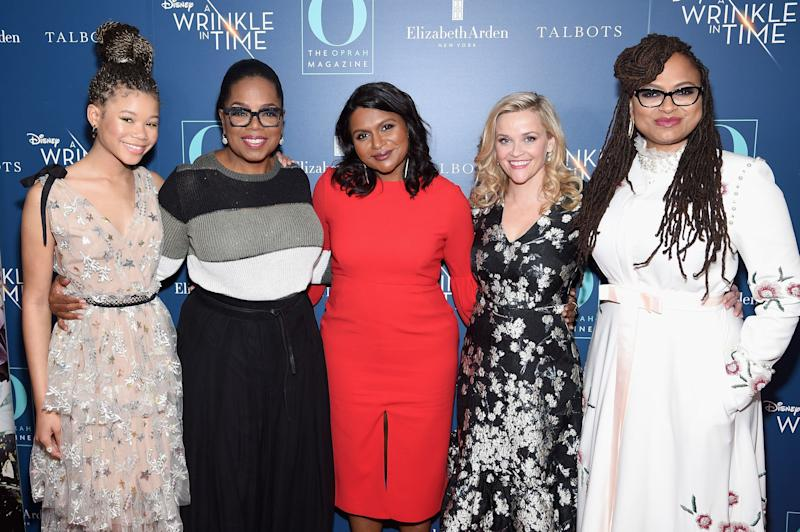 "Storm Reid, Oprah Winfrey, Mindy Kaling, Reese Witherspoon and Ava DuVernay at a March 7 screening of ""A Wrinkle In Time"" in New York City."
