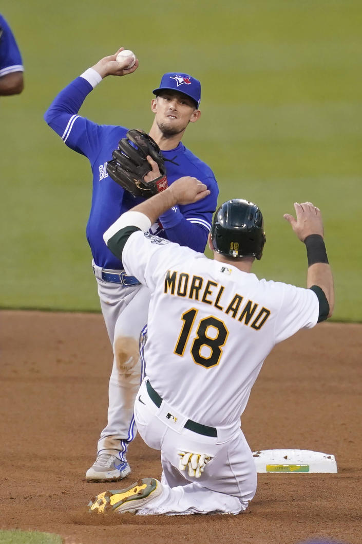 Toronto Blue Jays' Cavan Biggio, top, throws to first base after forcing Oakland Athletics' Mitch Moreland (18) out at second base on a double play hit into by Vimael Machin during the fourth inning of a baseball game in Oakland, Calif., Tuesday, May 4, 2021. (AP Photo/Jeff Chiu)