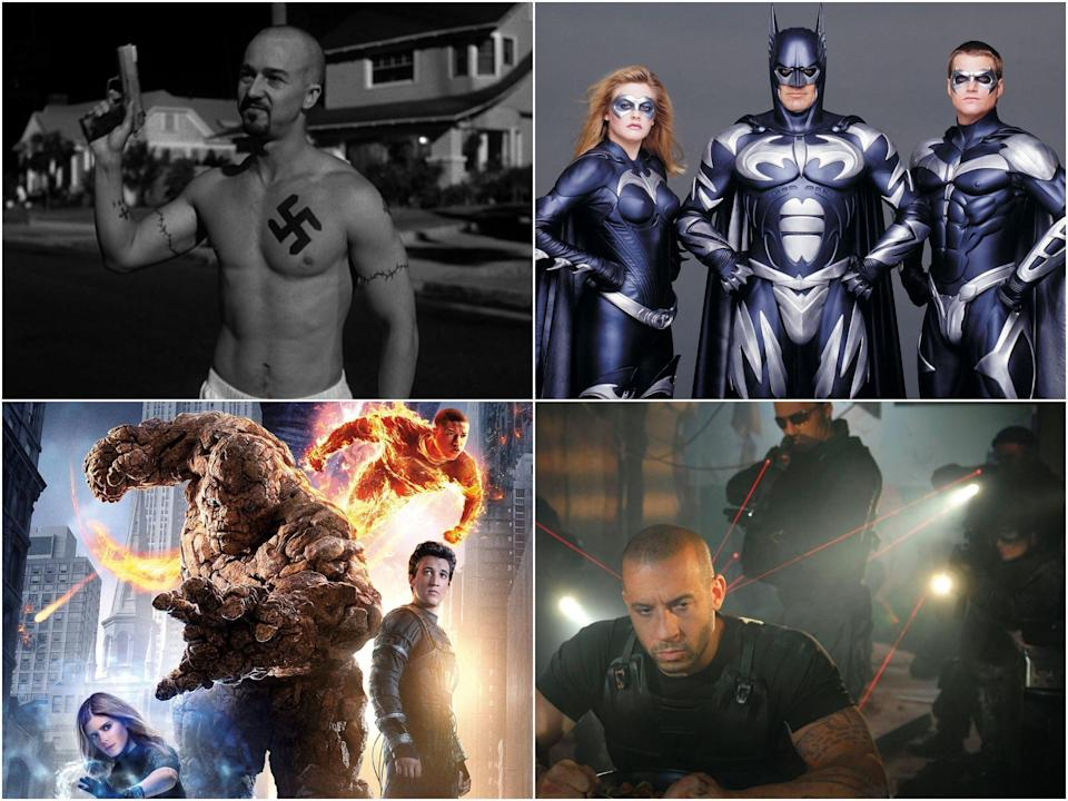 Clockwise from top right: American History X, Batman and Robin, Babylon AD, and Fantastic Four