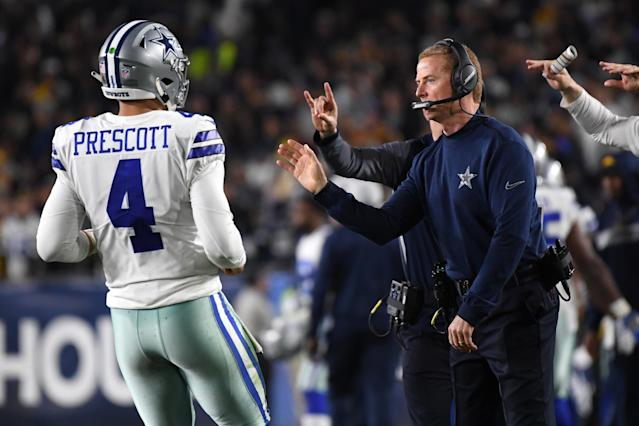 Quarterback Dak Prescott, Jason Garrett and the Cowboys couldn't leap that hurdle – again – in the NFC divisional round. (Getty Images)
