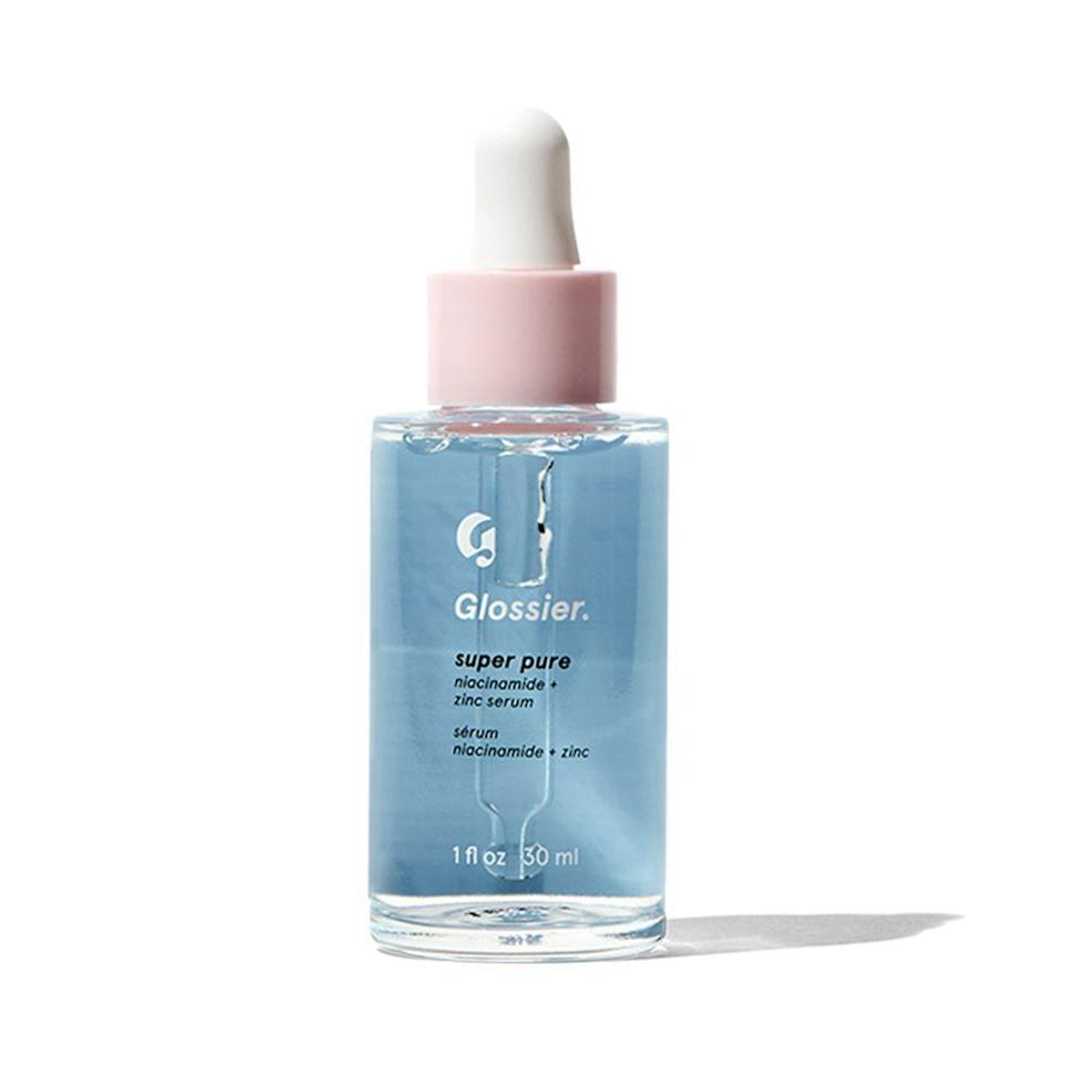 """<p><strong>Glossier</strong></p><p>glossier.com</p><p><strong>$28.00</strong></p><p><a href=""""https://go.redirectingat.com?id=74968X1596630&url=https%3A%2F%2Fwww.glossier.com%2Fproducts%2Fsuper-pure&sref=https%3A%2F%2Fwww.elle.com%2Fbeauty%2Fmakeup-skin-care%2Ftips%2Fg8091%2Fface-serum%2F"""" rel=""""nofollow noopener"""" target=""""_blank"""" data-ylk=""""slk:Shop Now"""" class=""""link rapid-noclick-resp"""">Shop Now</a></p><p>""""Freaked-out skin, meet your match,"""" is how Glossier explains Super Pure serum and, tbh, it's true. The niacinamide and zinc work together to calm blemishes, redness, and other impurities (especially those that come around a certain time of month). If bad eating habits or stress are causing your skin to freak, grab Super Pure to calm the meltdown.</p>"""