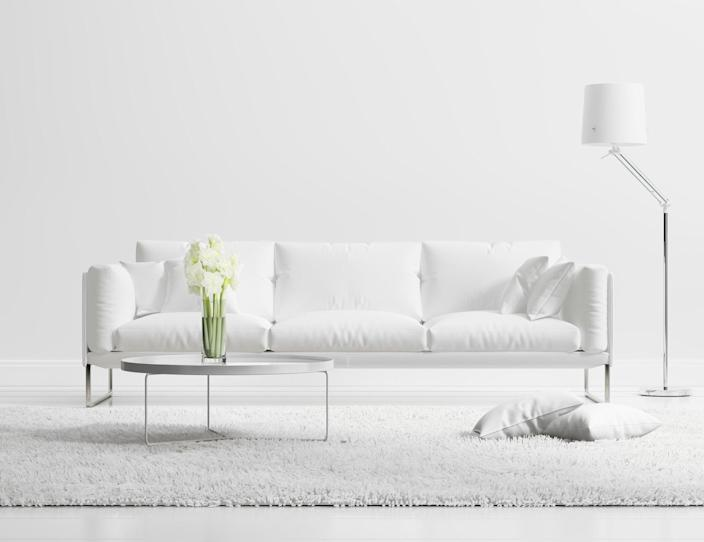 Sleek, white minimalist pieces might be cool here and there, but an all-white interior is just too much.