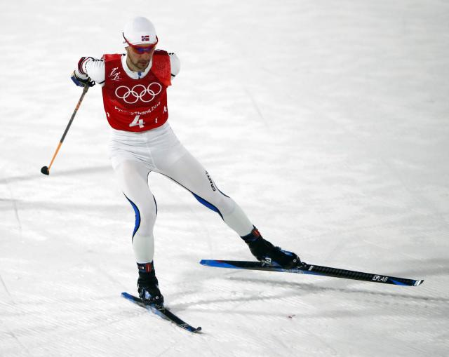 Nordic Combined Events - Pyeongchang 2018 Winter Olympics - Men's Team 4 x 5 km Final - Alpensia Cross-Country Skiing Centre - Pyeongchang, South Korea - February 22, 2018 - Jan Schmid of Norway competes. REUTERS/Dominic Ebenbichler
