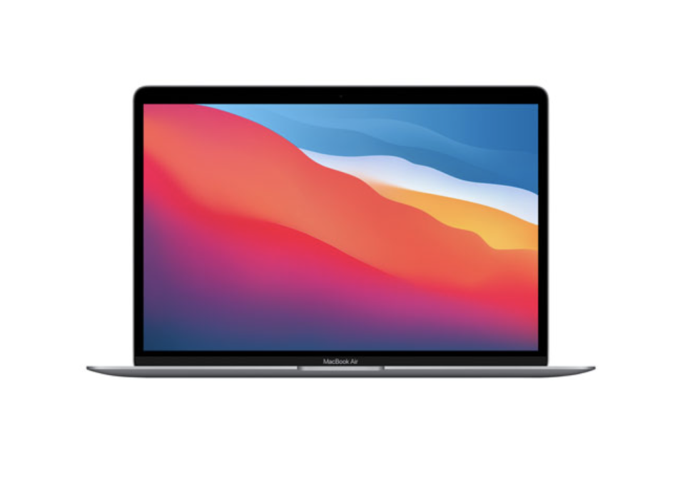 open apple macbook air laptop with red, blue, pink, and orange graphic on screen