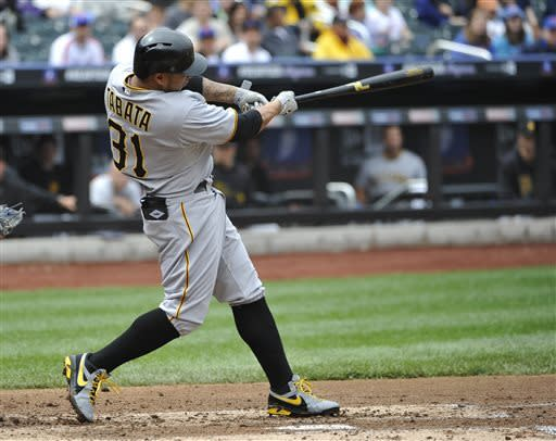 Pittsburgh Pirates' Jose Tabata hits a two-run home run off of New York Mets starting pitcher Jonathon Niese in the third inning of a baseball game at Citi Field on Saturday, May 11, 2013 in New York. (AP Photo/Kathy Kmonicek)
