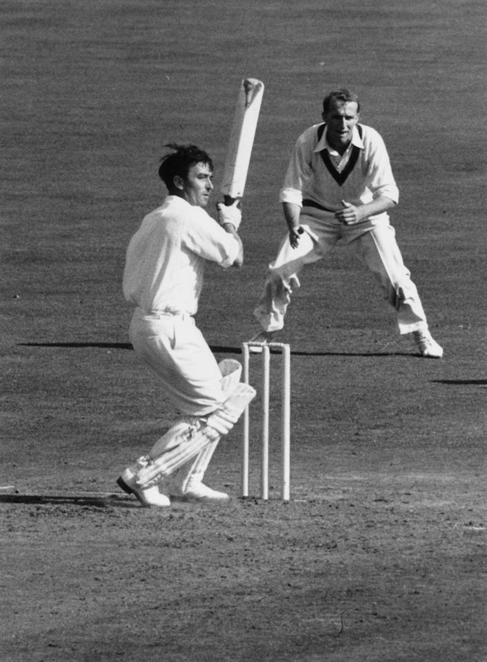 English batsman Denis Compton batting at the Oval cricket ground, London, during the England v Australia Final Test match. England went on to win the Ashes.   (Photo by Central Press/Getty Images)