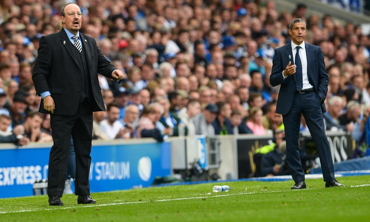 There was not much room between Rafael Benítez and Chris Hughton, right, on the touchline and nor was there between Newcastle and Brighton.