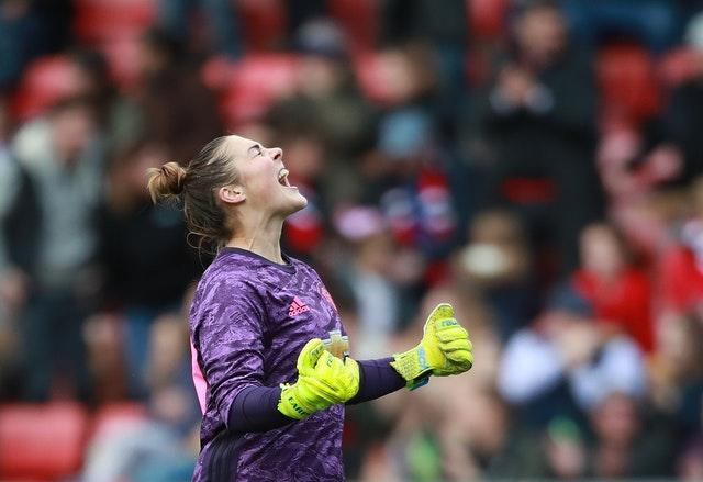 Goalkeeper Mary Earps celebrated after Manchester United beat Manchester City 2-0 in the Continental League Cup (Zac Goodwin/PA)