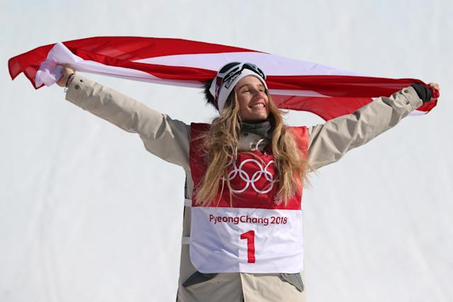 <p>Gold medalist Anna Gasser of Austria celebrates during the victory ceremony after the Snowboard – Ladies' Big Air Final on day 13 of the PyeongChang 2018 Winter Olympic Games at Phoenix Snow Park on February 22, 2018 in Pyeongchang-gun, South Korea. (Photo by Al Bello/Getty Images) </p>