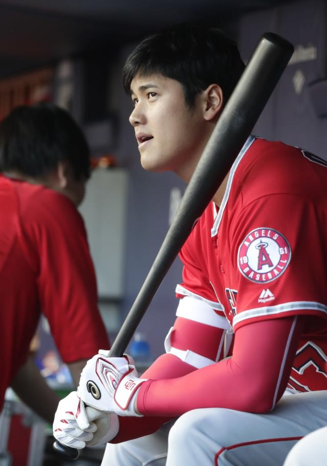 Los Angeles Angels' Shohei Ohtani, of Japan, waits for the team's baseball game against the New York Yankees on Friday, May 25, 2018, in New York. (AP Photo/Frank Franklin II)