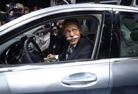 Chairman of Daimler AG and Head of Mercedes-Benz cars Dieter Zetsche sits in C220 Bluetec during the press preview day of the North American International Auto Show in Detroit