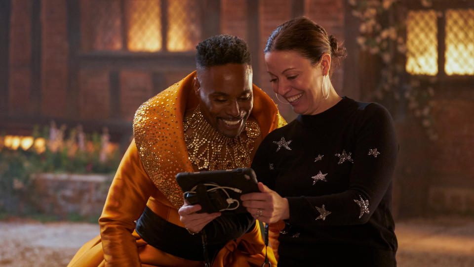 Billy Porter and Kay Cannon on the set of 'Cinderella'. (Kerry Brown/Amazon)