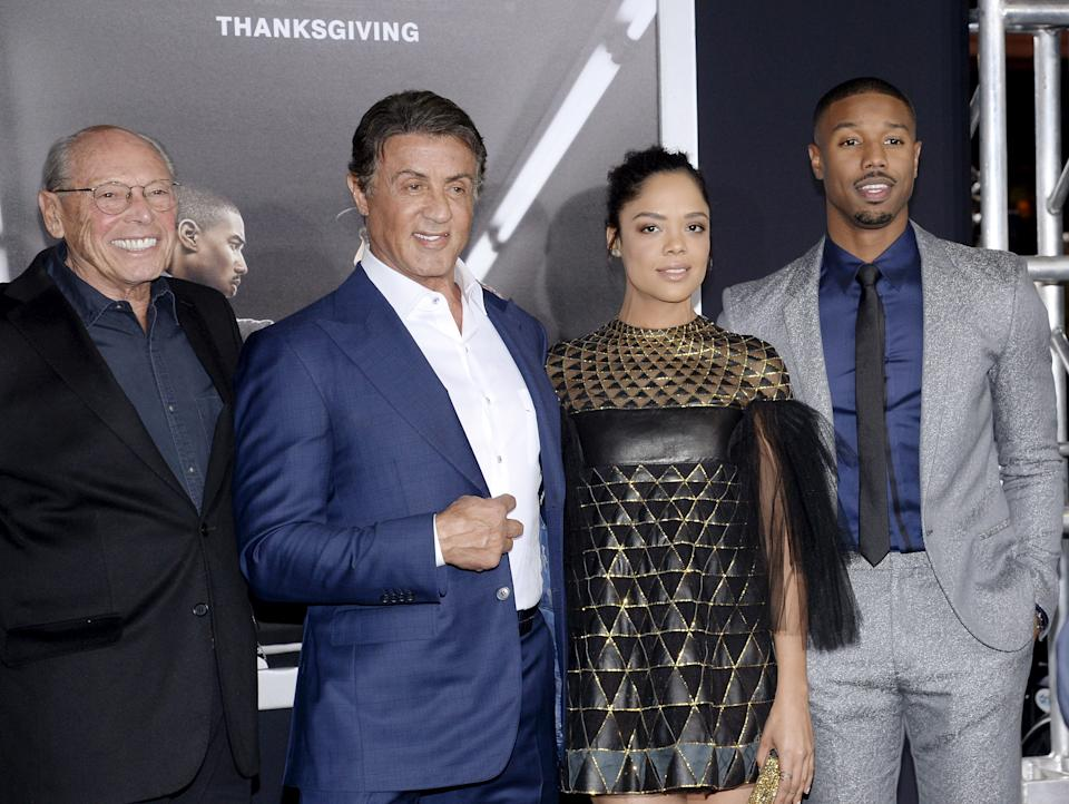 """Producer Irwin Winkler, cast member and producer Sylvester Stallone, and cast members Tessa Thompson and Michael B. Jordan (L-R) pose during the premiere of the film """"Creed"""" in Los Angeles, California November 19, 2015. The film opens in the U.S. on November 25. REUTERS/Kevork Djansezian"""