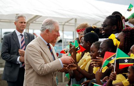 Britain's Prince Charles and Camilla, Duchess of Cornwall are welcomed to Nevis during their visit to St Kitts and Nevis, March 21, 2019. REUTERS/Phil Noble