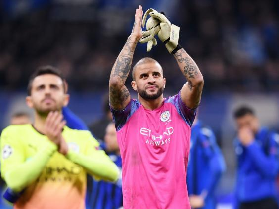 Kyle Walker took over the goalkeeper gloves for Manchester City (Getty)