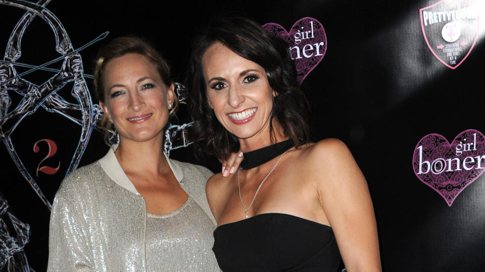 Stunt performer Dayna Grant (right) and Zoe Bell at the Artemis Film Festival in 2016. (Photo by Albert L. Ortega/Getty Images)