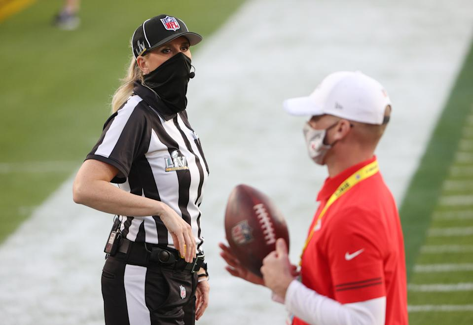 Sarah Thomas #53 looks on prior to a game between the Tampa Bay Buccaneers and the Kansas City Chiefs in Super Bowl LV at Raymond James Stadium on February 07, 2021 in Tampa, Florida. (Photo by Patrick Smith/Getty Images)