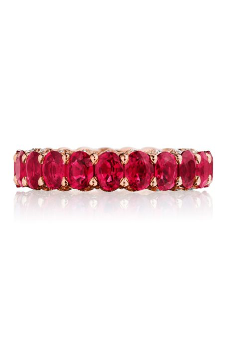"<p>There are no rules saying you need a traditional ring with a center stone. Sometimes a band packs just as much of a punch on its own, and an engagement band is set up to layer beautifully with your wedding one. Pick a unique shape of stone—like these oval rubies—for a real statement piece. <br></p><p><em>RoyalT in 18kt Rose Gold, $12,990, <a href=""https://nam03.safelinks.protection.outlook.com/?url=http%3A%2F%2Fwww.Tacori.com&data=02%7C01%7Csherry%40tacori.com%7C4afbe019f95a4ad3ad7908d740f94faa%7Cb0f59a73578343f0afbe5dda3a736e9f%7C1%7C0%7C637049311861135266&sdata=yS%2FDOC0h%2FSoTY622nYPPD8ND2er8LlS2%2Fuj5O6z56cM%3D&reserved=0"" rel=""nofollow noopener"" target=""_blank"" data-ylk=""slk:tacori.com"" class=""link rapid-noclick-resp"">tacori.com</a>.</em></p><p> <a class=""link rapid-noclick-resp"" href=""https://nam03.safelinks.protection.outlook.com/?url=https%3A%2F%2Fwww.tacori.com%2Fht2637pkrb%2F&data=02%7C01%7Csherry%40tacori.com%7C4afbe019f95a4ad3ad7908d740f94faa%7Cb0f59a73578343f0afbe5dda3a736e9f%7C1%7C0%7C637049311861135266&sdata=ZiErCQp7A19dhIaXlHZnM06dmh2k5zjJJwVQToxQ9bc%3D&reserved=0"" rel=""nofollow noopener"" target=""_blank"" data-ylk=""slk:SHOP"">SHOP</a></p>"