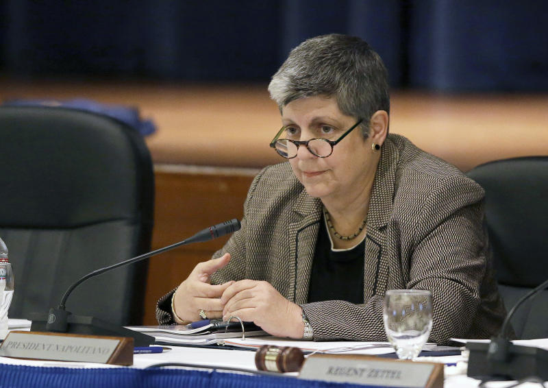 File - In this Nov. 12, 2012 file photo, University of California President Janet Napolitano listens during a UC Regents meeting in San Francisco. Napolitano, the former Secretary of the Department of Homeland Security, is set to lead the U.S. delegation to the Sochi Games. (AP Photo/Eric Risberg, File)