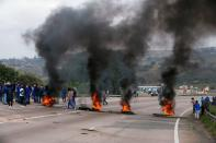 Supporters of former South African President Jacob Zuma attend a protest in Peacevale
