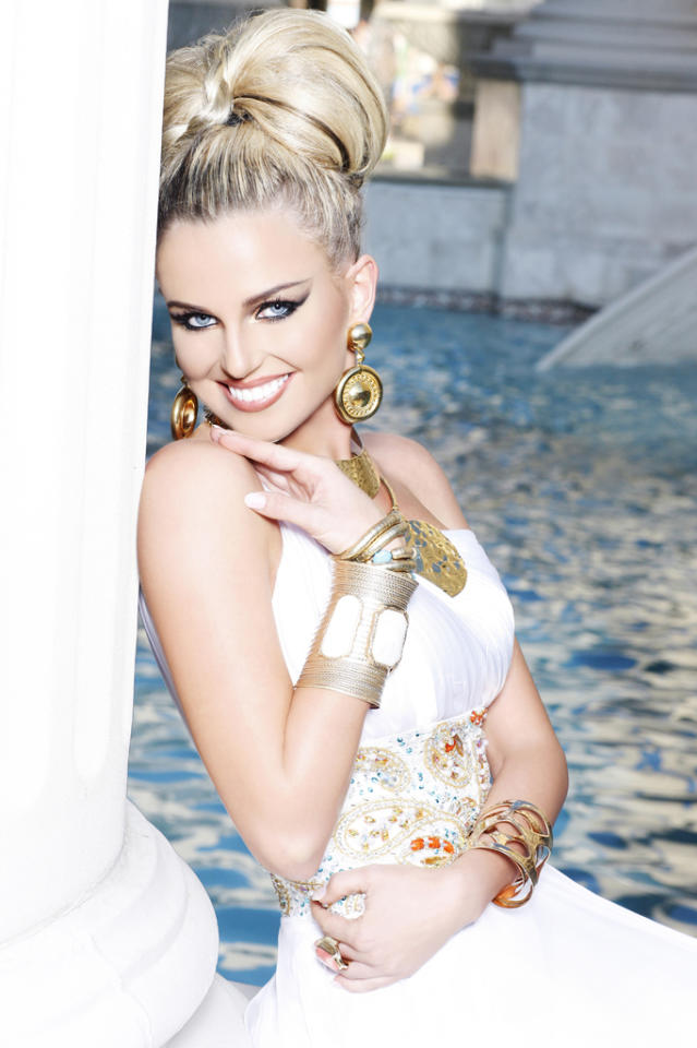 "Miss Arkansas USA 2012, Kelsey Dow, poses for fashion photographer Fadil Berisha at the ""Gardens of Goddess"" photo shoot at Caesar's Palace Las Vegas Hotel & Casino pool. Tune in to NBC, June 3 at 9PM EST for the live telecast of the 2012 Miss USA Competition to see who takes home the Diamond Nexus crown."