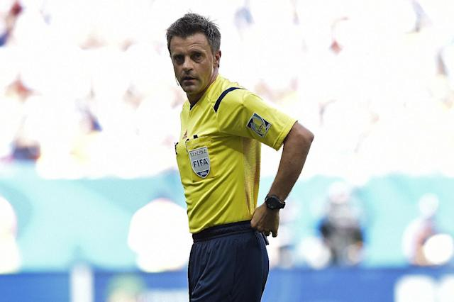 Italian referee Nicolas Rizzoli during a quarter-final football match between Argentina and Belgium at the Mane Garrincha National Stadium in Brasilia during the 2014 FIFA World Cup on July 5, 2014 (AFP Photo/Juan Mabromata)