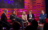 (Left to right) Graham Norton, Matthew McConaughey, Christina Ricci, Josh Widdicombe and Ed Sheeran during filming of the Graham Norton Show at The London Studios, south London, to be aired on BBC One on Friday. PRESS ASSOCIATION. Picture date: Thursday January 19, 2017. Photo credit should read: PA Images on behalf of So TV.