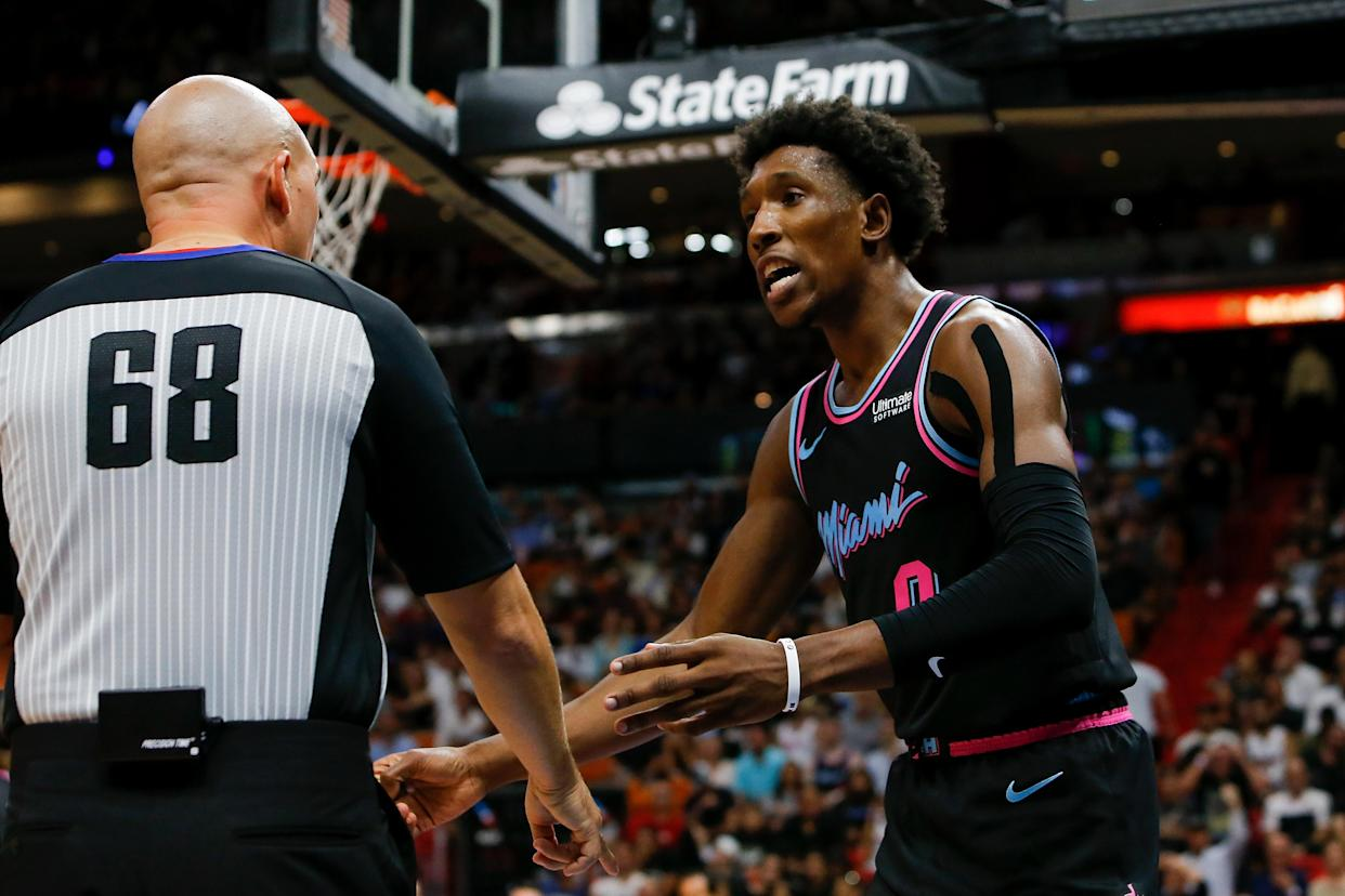Miami Heat guard Josh Richardson was ejected on Sunday night after throwing his shoe into the stands. (Michael Reaves/Getty Images)