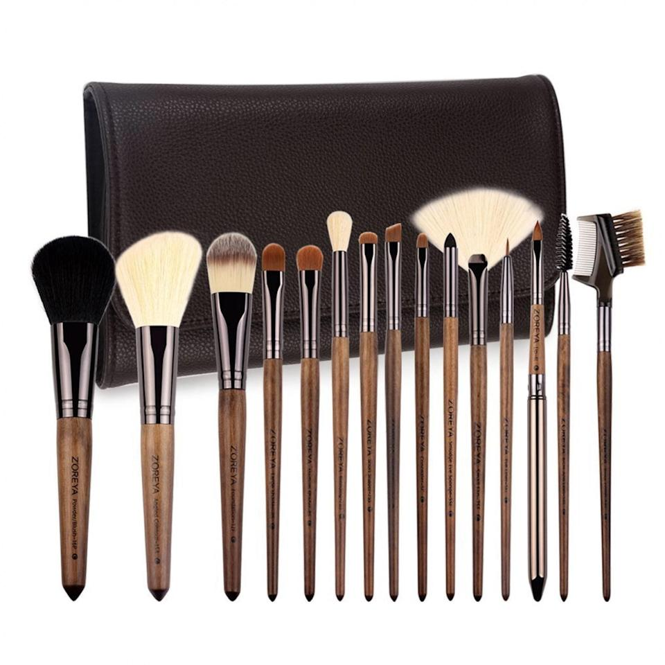 "<p><strong>Star Rating:</strong> 4.6 out of 5</p> <p><strong>Key selling points:</strong> Anyone who considers their face a canvas will appreciate these walnut brushes that resemble ones you might use for paint, but their elegant aesthetic isn't the only thing to write home about. The no-shed bristles, durability, and ease of use make these a winner, and they've got reviews nearly 4000 reviews to back them.</p> <p><strong>What customers say:</strong> ""Absolutely amazing quality for the price. Very impressed. The handles are beautiful, the metal part of the brush and the plastic bristles are firmly attached, no wriggling or shedding. The bristles are super soft too (on the ones that are supposed to be soft anyway). The case is really nice—it's made of fake leather but is very good quality, it almost looks real."" —<a href=""https://amzn.to/2NQOGtf"" rel=""nofollow noopener"" target=""_blank"" data-ylk=""slk:Burk"" class=""link rapid-noclick-resp""><em>Burk</em></a></p> $15, Amazon. <a href=""https://www.amazon.com/ZOREYA-Eyeshadow-Foundation-Maquillaje-Profesional/dp/B01N9RJ4D7/"" rel=""nofollow noopener"" target=""_blank"" data-ylk=""slk:Get it now!"" class=""link rapid-noclick-resp"">Get it now!</a>"