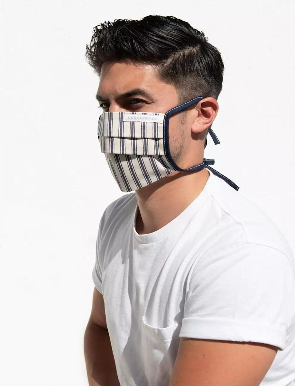<p>When you buy these <span>Lucky Pleated Cotton Face Masks</span> ($25), five masks will be donated to unhoused and low-income Angelenos through Lucky Brand's community partners.</p>