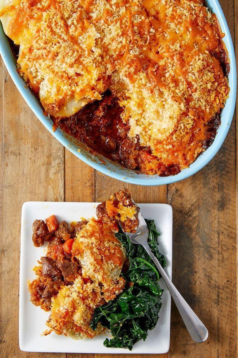 """<p>Cumberland pie uses chunks of beef rather than mince, and rather than <a href=""""https://www.delish.com/uk/cooking/recipes/a29840272/perfect-mashed-potatoes-recipe/"""" rel=""""nofollow noopener"""" target=""""_blank"""" data-ylk=""""slk:mashed potato"""" class=""""link rapid-noclick-resp"""">mashed potato</a>, you should traditionally use slices of potatoes, cooked and cut into rounds and laid across the top. And of course, the best part of this pie is the layer of cheese and breadcrumbs sprinkled on top to make it crispy and crunchy.</p><p>Get the <a href=""""https://www.delish.com/uk/cooking/recipes/a30119158/cumberland-pie/"""" rel=""""nofollow noopener"""" target=""""_blank"""" data-ylk=""""slk:Cumberland Pie"""" class=""""link rapid-noclick-resp"""">Cumberland Pie</a> recipe. </p>"""