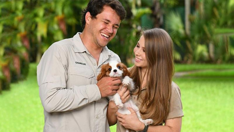 Bindi Irwin and Chandler Powell holding a puppy