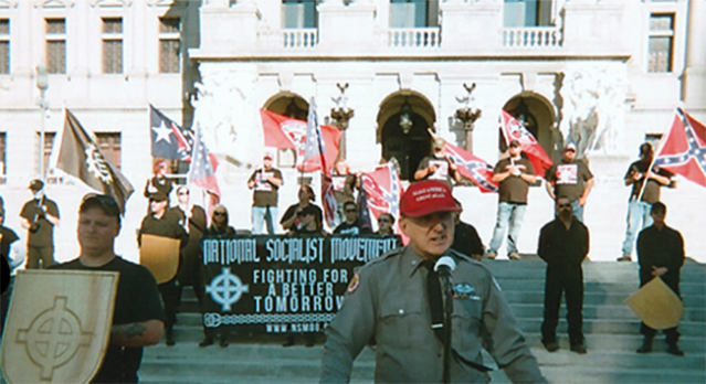 Arthur Jones speaking at a National Socialist Movement rally. (Photo: via Jones campaign website)