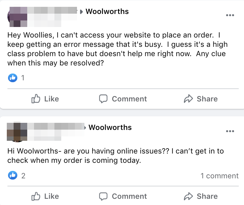 Customers were impacted by the outage, some saying the technical problems were preventing them from seeing when their orders are arriving. Source: Facebook