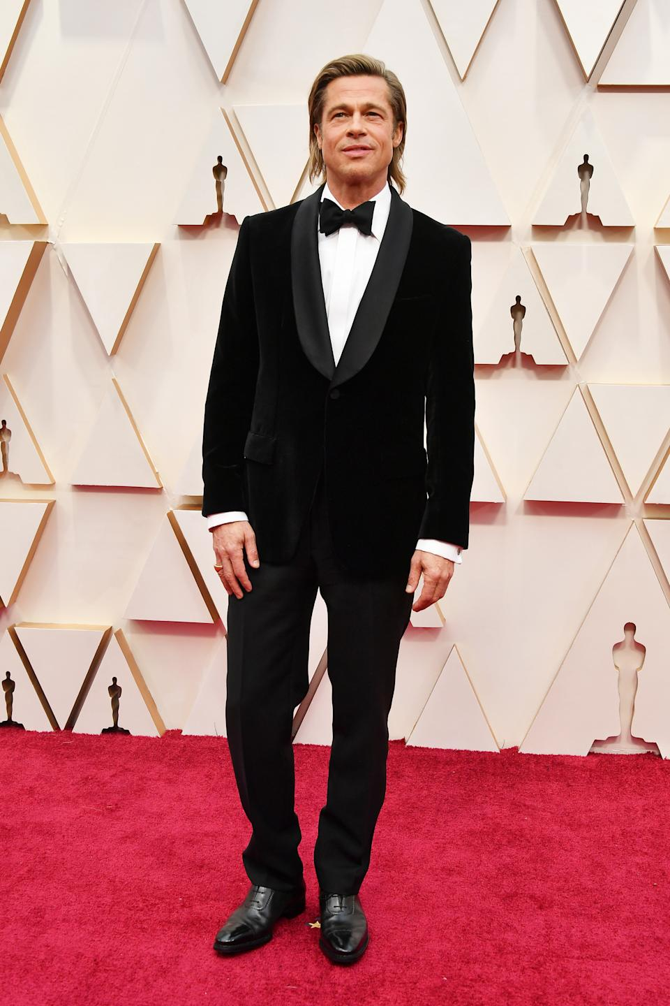 """The """"Once Upon a Time...In Hollywood"""" star and Best Supporting Actor nominee kept things simple in a classic black tuxedo by Brioni."""
