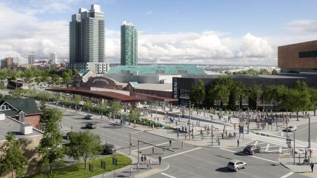 A major overhaul of the Victoria Park/Stampede LRT station and the extension of 17th Avenue S.E. into the Stampede grounds began Thursday.  (CMLC - image credit)