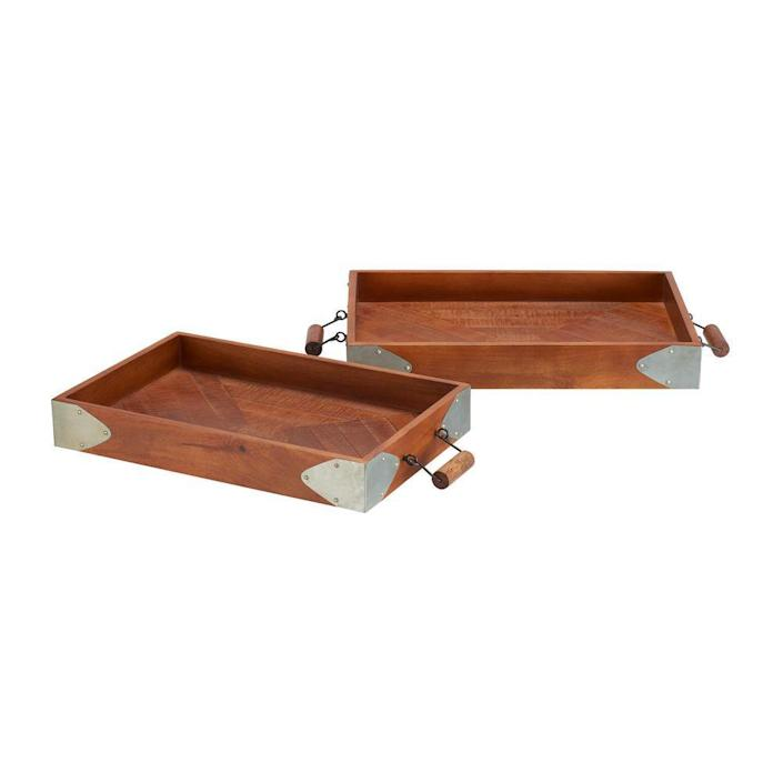 Home Decorators Collection Wood with Galvanized Metal Trim Decorative Rectangle Tray