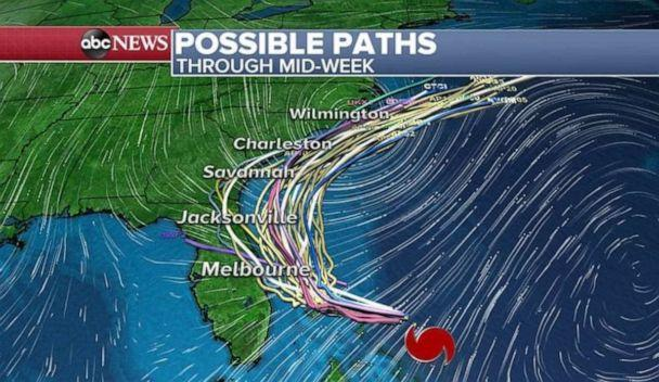 PHOTO: Hurricane Dorian's possibly path has changed multiple times over the past week. (ABC News)