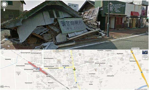 This screenshot from Google Maps shows a collapsed house is seen, top, in March, 2013, with its location pinpointed on a map below, in Namie, Japan, a nuclear no-go zone where former residents have been unable to live since they fled a radiation spewing from the Fukushima Dai-ichi nuclear power plant two years ago.