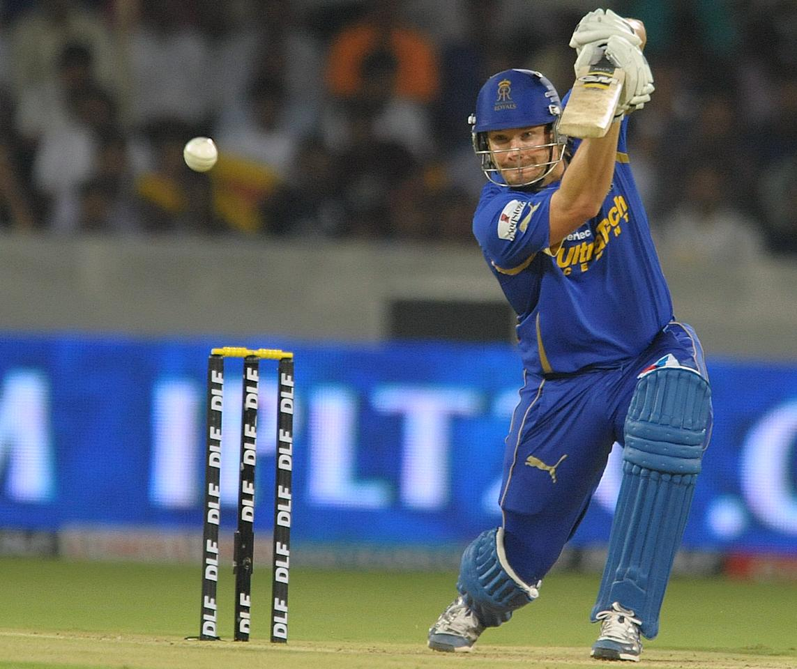 Rajasthan Royals batsman Shane Watson plays a shot during the IPL Twenty20 cricket match between Deccan Chargers and Rajasthan Royals  at Rajiv Gandhi International Stadium in Hyderabad on May 18, 2012. RESTRICTED TO EDITORIAL USE. MOBILE USE WITHIN NEWS PACKAGE. AFP PHOTO / Noah SEELAM        (Photo credit should read NOAH SEELAM/AFP/GettyImages)