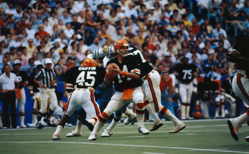 Ken Anderson, quarterback for the Cincinnati Bengals, seen here preparing to pass the ball.