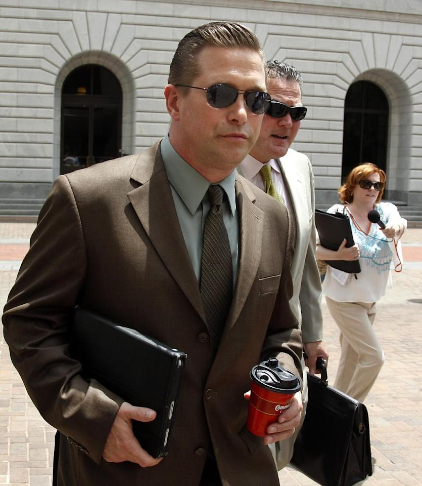 Actor Stephen Baldwin arrives at Federal Court after a lunch break in New Orleans Monday, June 4, 2012. Baldwin has sued fellow actor Kevin Costner over their investments in a device that BP used in trying to clean up the massive Gulf of Mexico oil spill. The federal lawsuit filed in New Orleans on Wednesday by Baldwin and a friend claims Costner and a business partner duped them out of their shares of an $18 million deal for BP to purchase oil-separating centrifuges from a company they formed after the April 20 spill. ( AP Photo/Bill Haber)