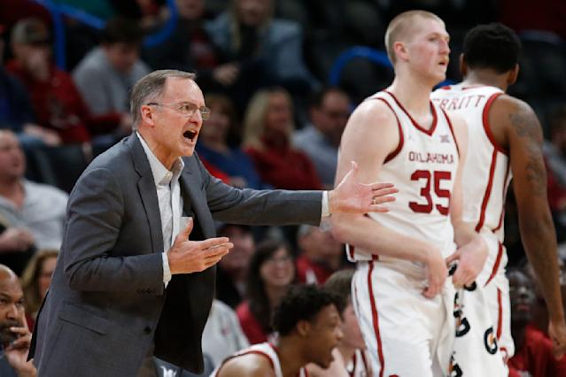 Oklahoma head coach Lon Kruger shouts in the second half of an NCAA college basketball game against Texas Tech, Tuesday, Feb. 25, 2020, in Oklahoma City. (AP Photo/Sue Ogrocki)